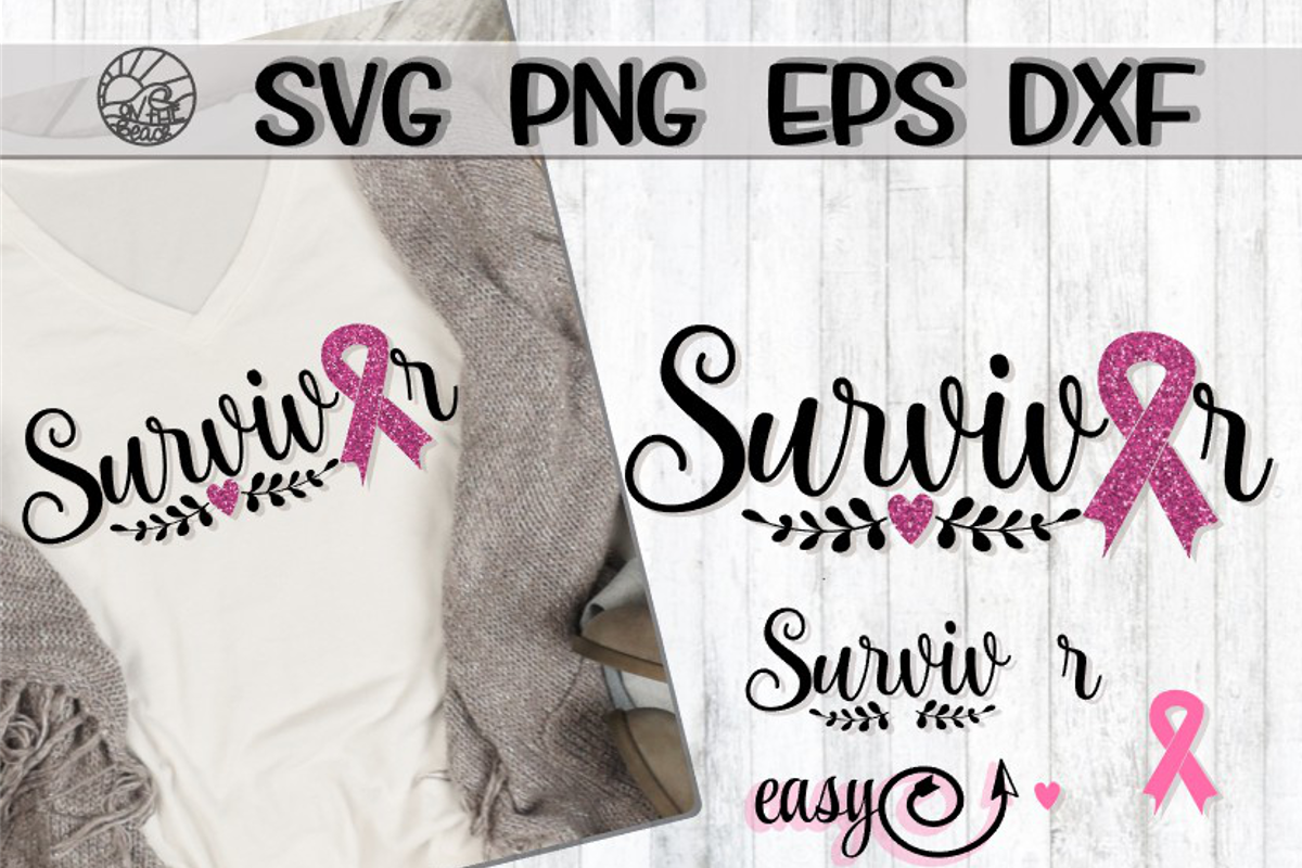 Survivor - Ribbon - SVG PNG DXF EPS example image 1
