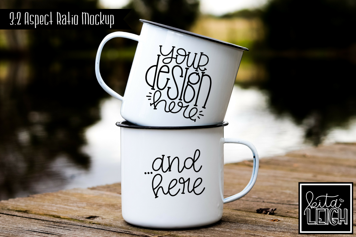 Two Pair Stack Campfire Mugs on a Fishing Dock Mockup example image 1
