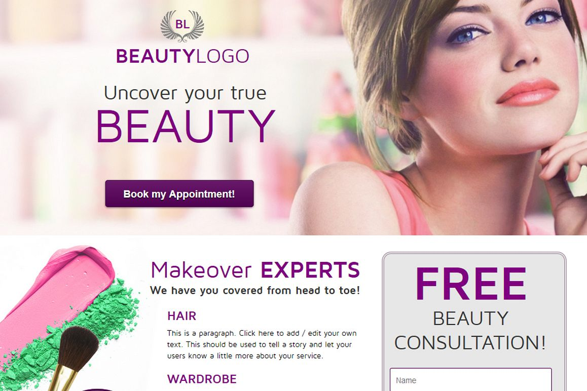 Beauty Landing Page example image 1