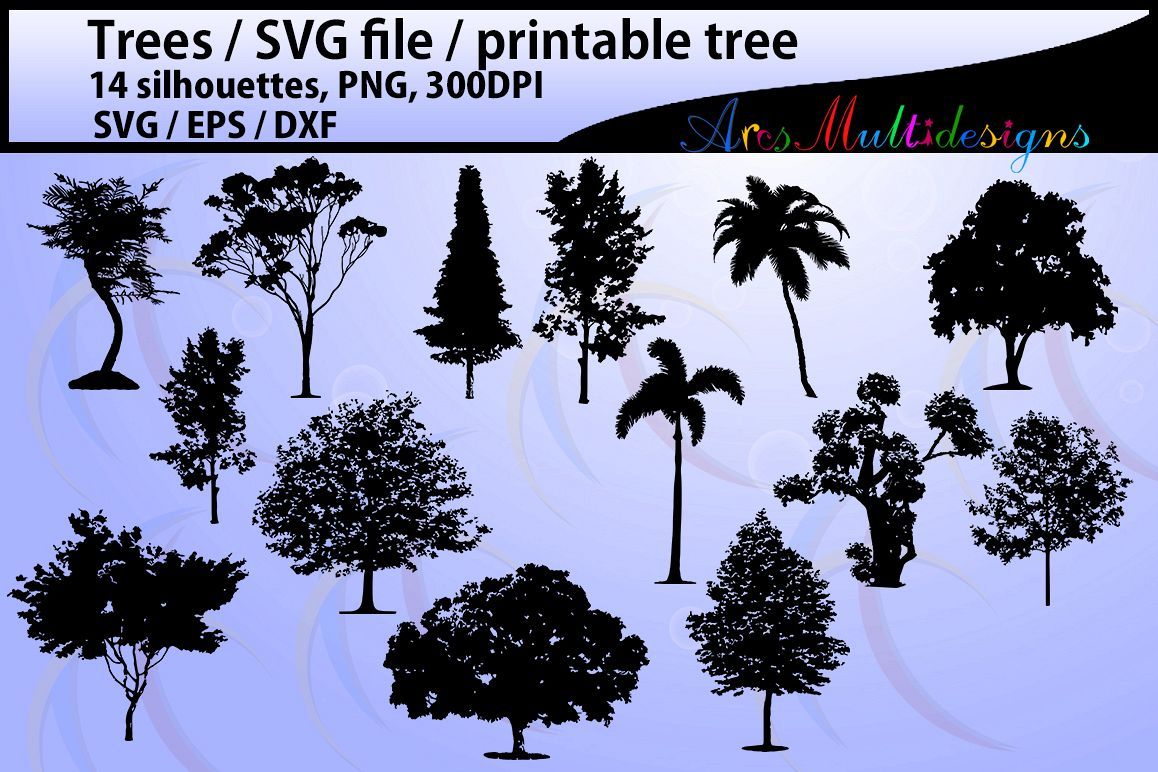 Tree silhouette / tree silhouette svg cut file / vector trees / printable trees silhouettes / design / Eps Svg Dxf / commercial use /14nos example image 1