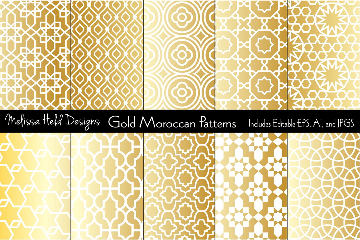 Metallic Gold Moroccan Patterns example image 1