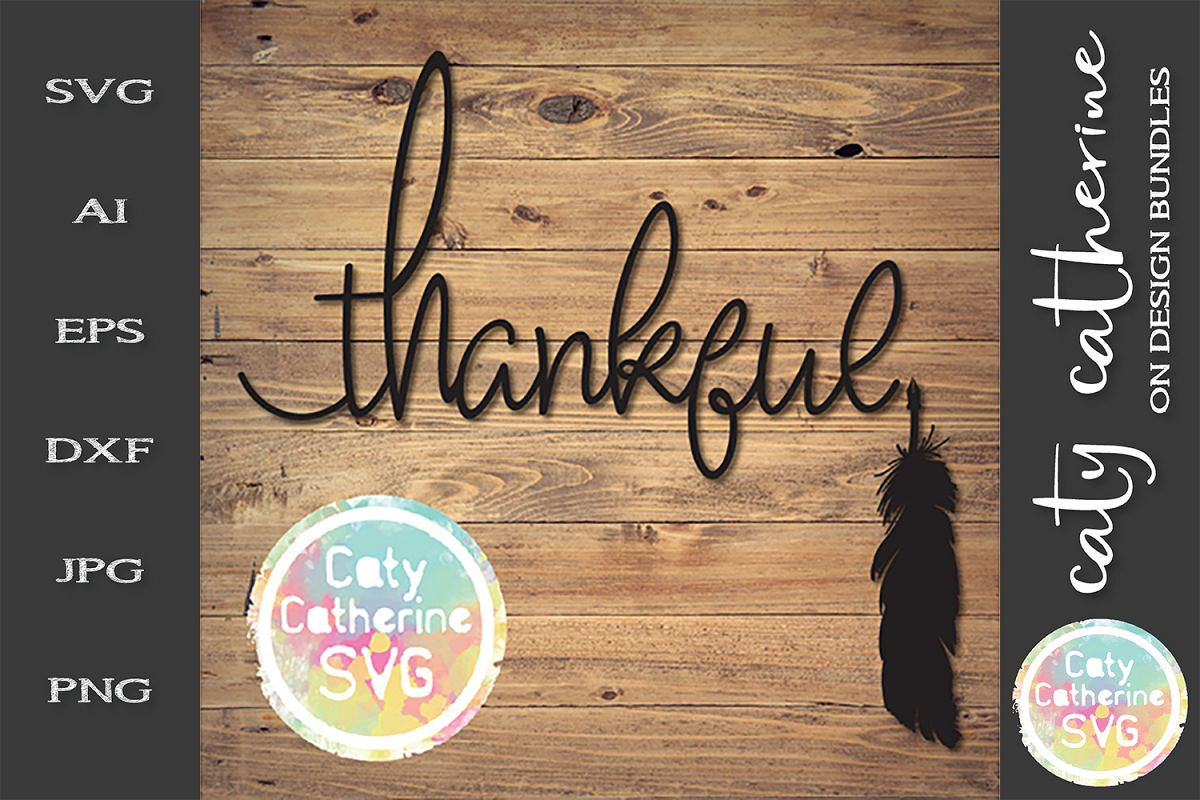 Thankful With Feather Quill Pen SVG Cut File example image 1