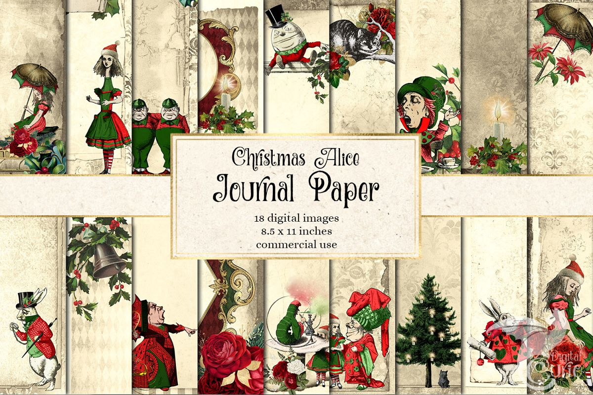 Christmas Alice In Wonderland Journal Paper example image 1