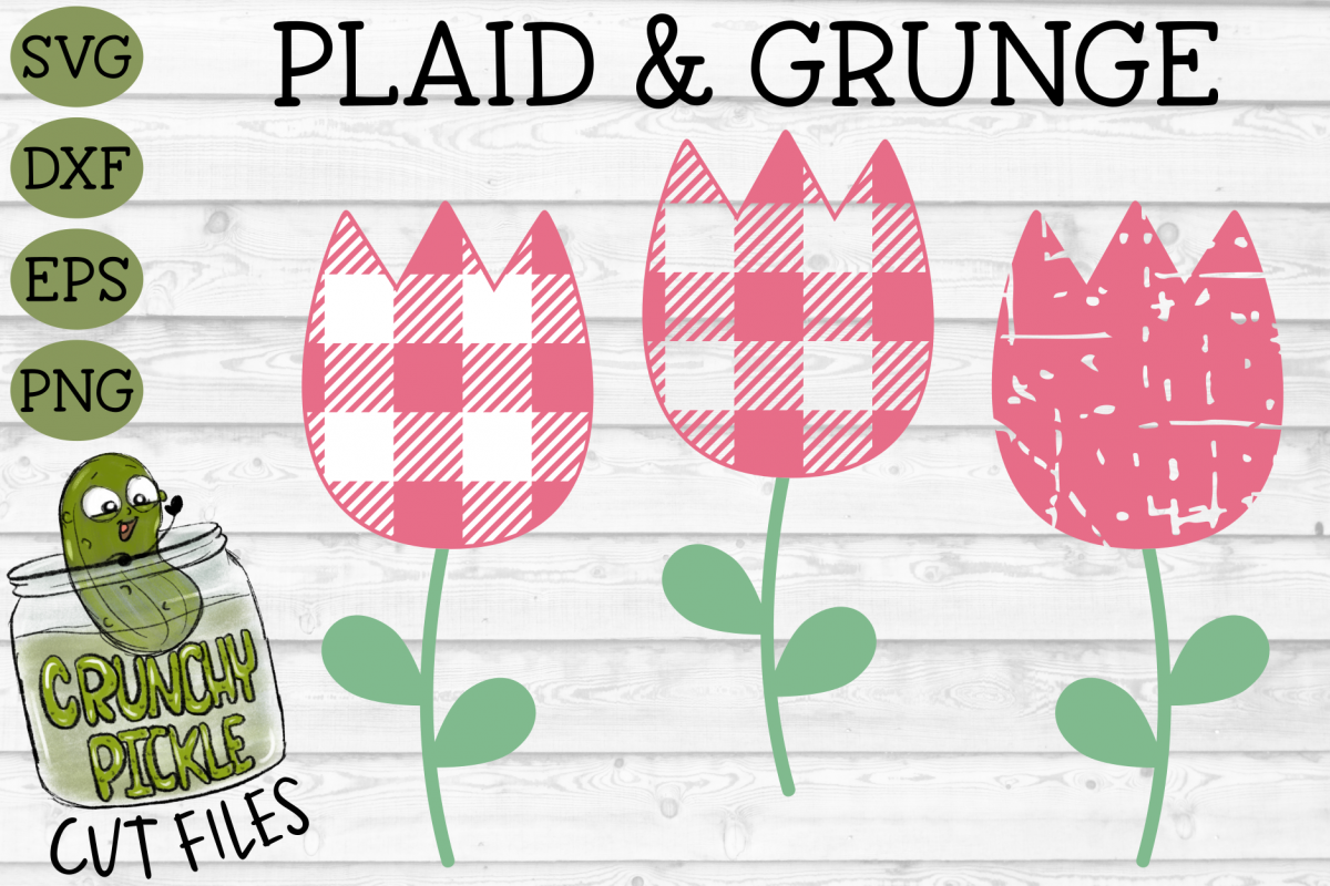 Plaid & Grunge Tulip SVG Cut File example image 1