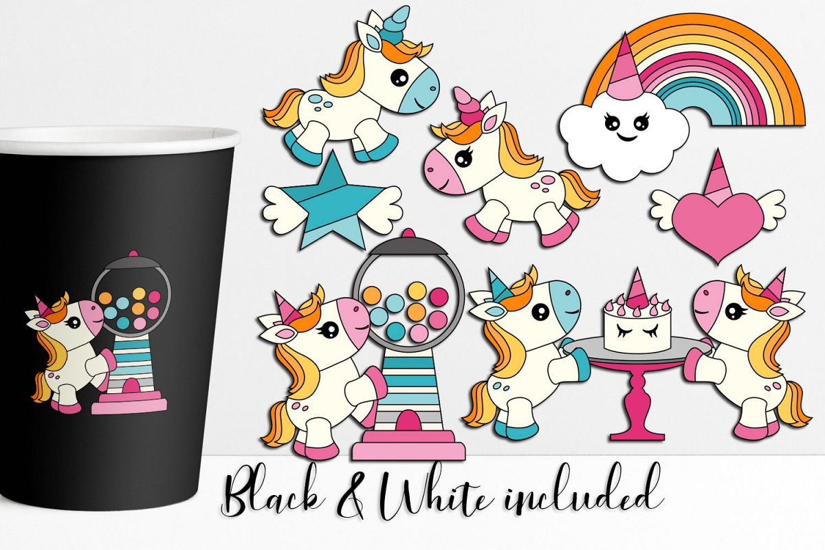 Unicorn Party Illustrations and Graphics example image 1