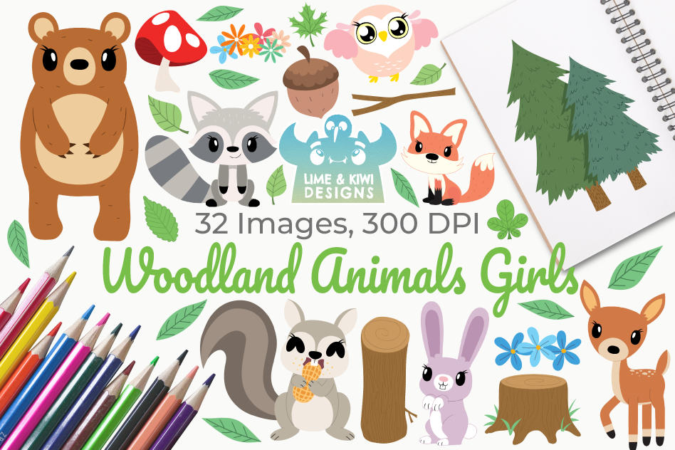 Woodland Animals Girls Clipart, Instant Download Vector Art example image 1