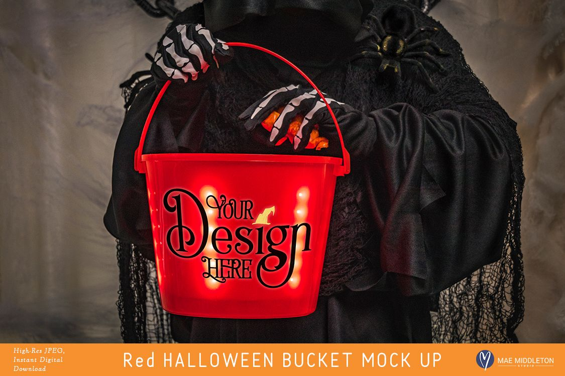 Red Halloween Light up Trick or Treat Bucket - mock up example image 1
