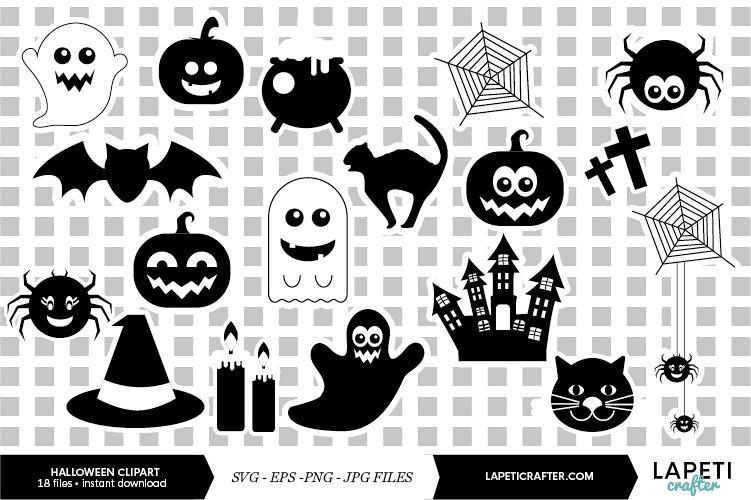 Halloween silhouette, halloween black clipart, digital stick example image 1