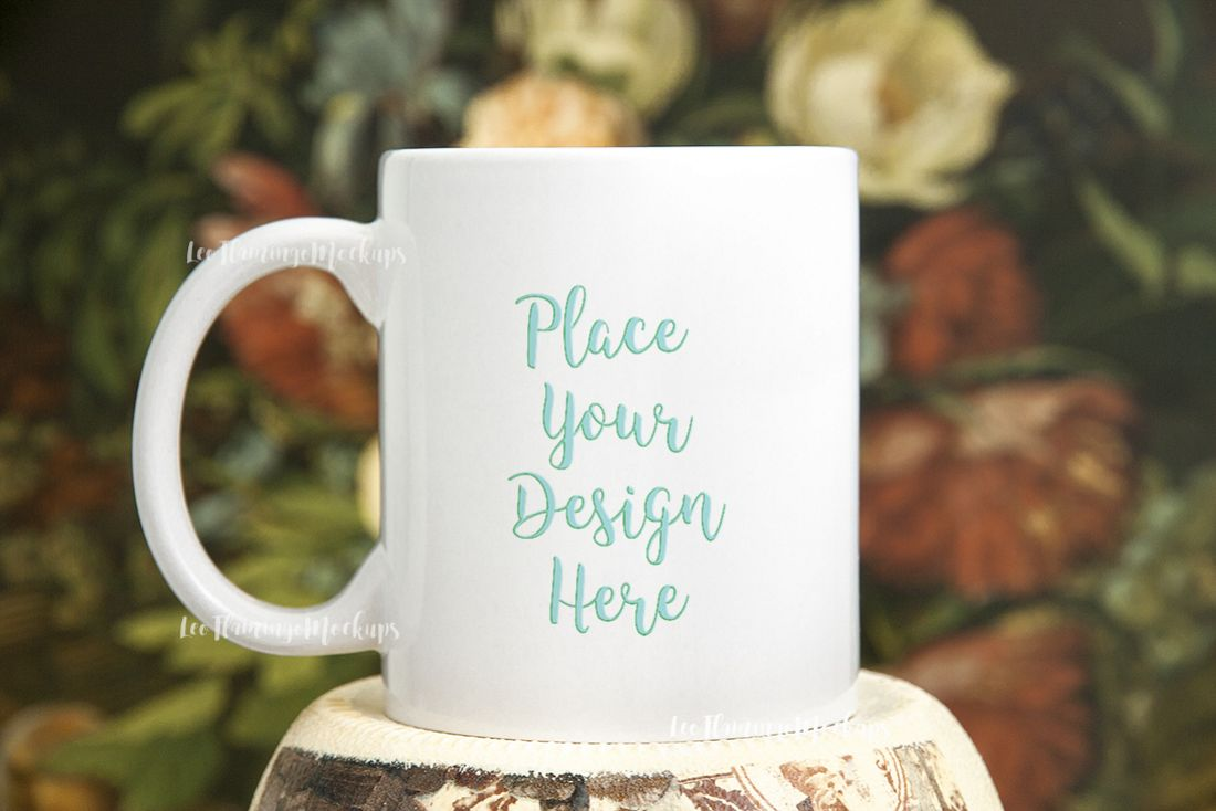 White coffee mug mock up rustic  example image 1