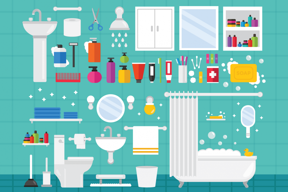Home Bathroom Clip Art Set example image 1