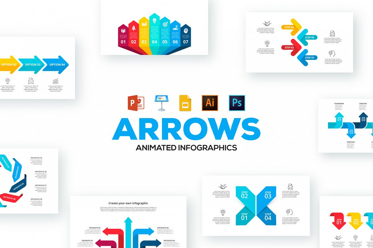 Arrows animated infographics presentations example image 1