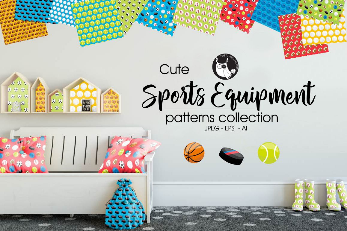 SPORTS-EQUIPMENT, digital papers example image 1