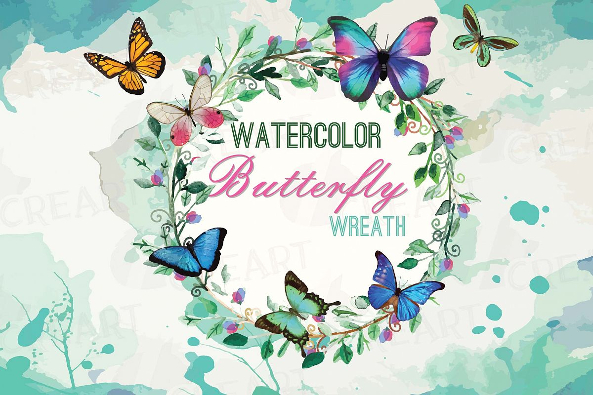 Watercolor butterfly. Wreath with butterflies clip