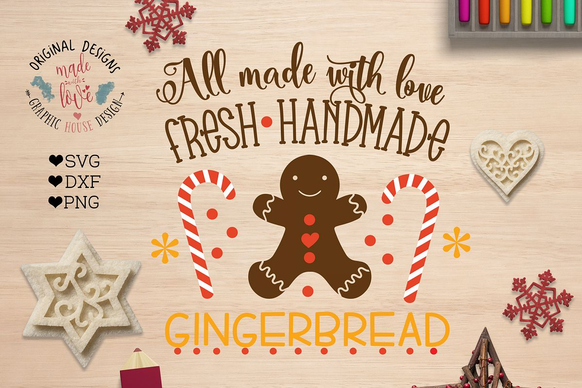 Handmade Gingerbread Cut File - Farmer's Market Christmas example image 1