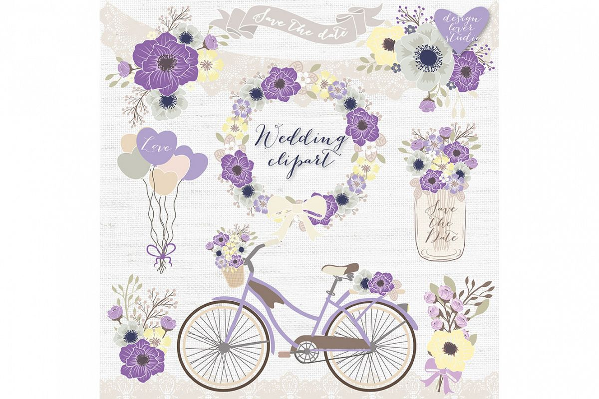 Purple wedding. Vector rustic bicycle clipart