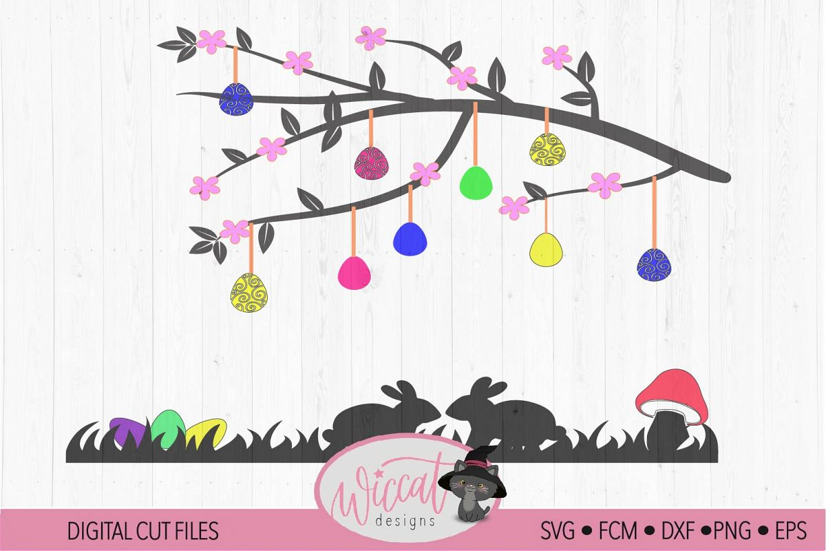 Easter branch Window decal svg, Easter scene svg example image 1