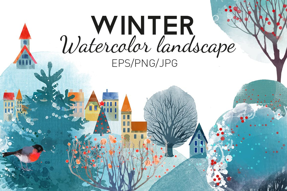 Watercolor winter landscape example image 1
