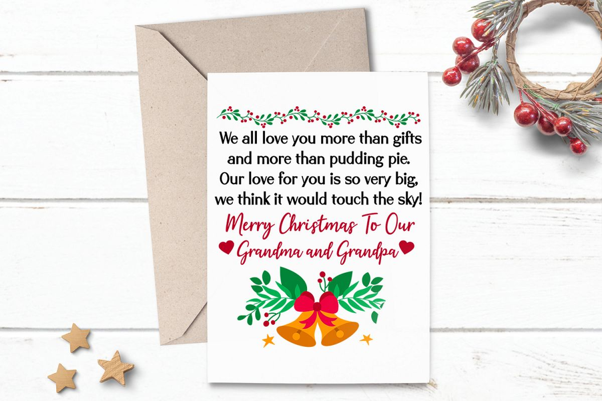 photo relating to Printable Photo Christmas Card named Printable Xmas Card Greeting for Grandma Grandpa