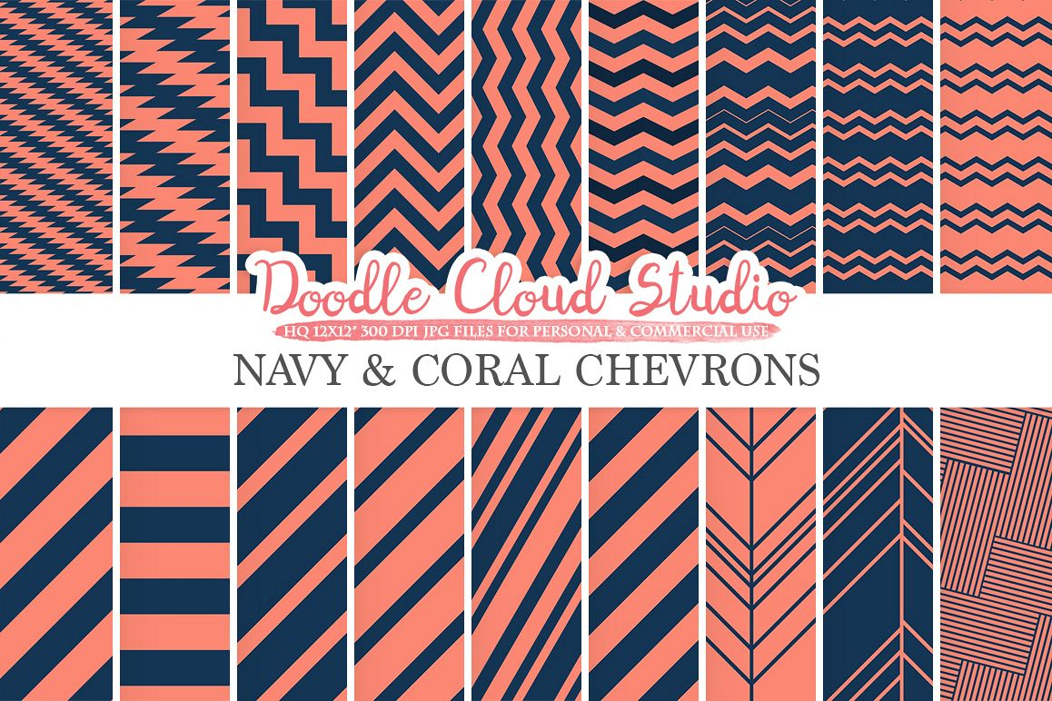 Navy and Coral Chevron digital paper, Chevron and Stripes  pattern, Zig Zag lines Dark Blue background for Personal & Commercial Use example image 1