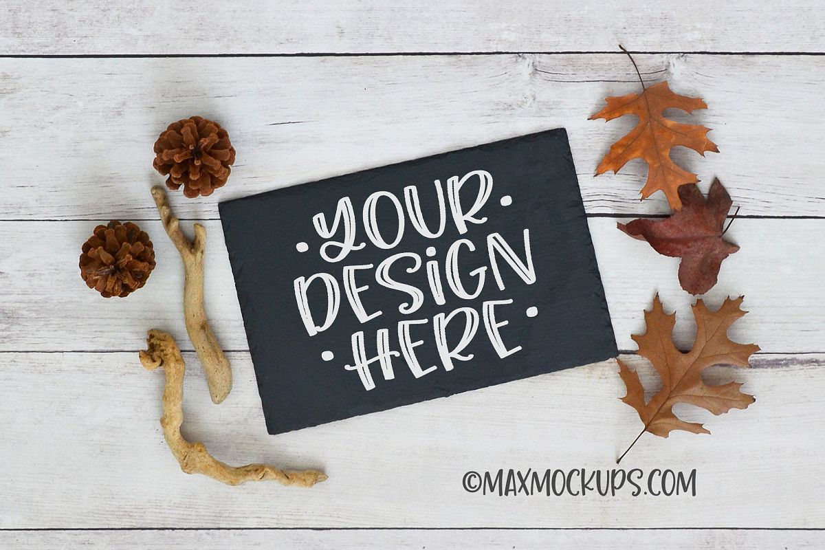 Chalkboard sign mockup, rectangular, fall leaves, pinecones example image 1