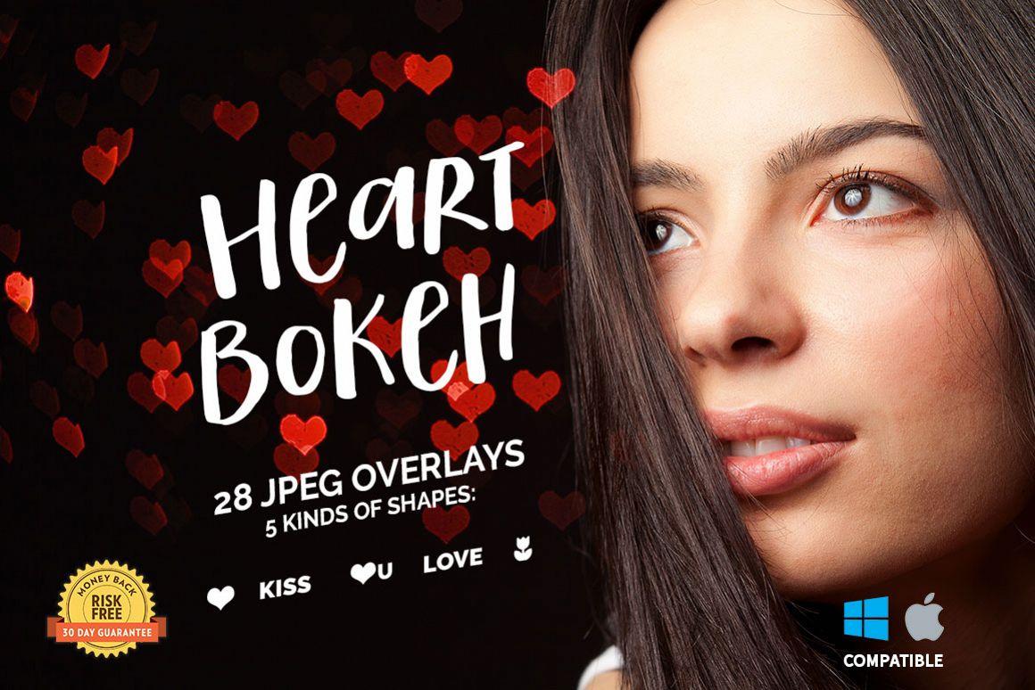 28 Heart Bokeh Photo Overlays example image 1