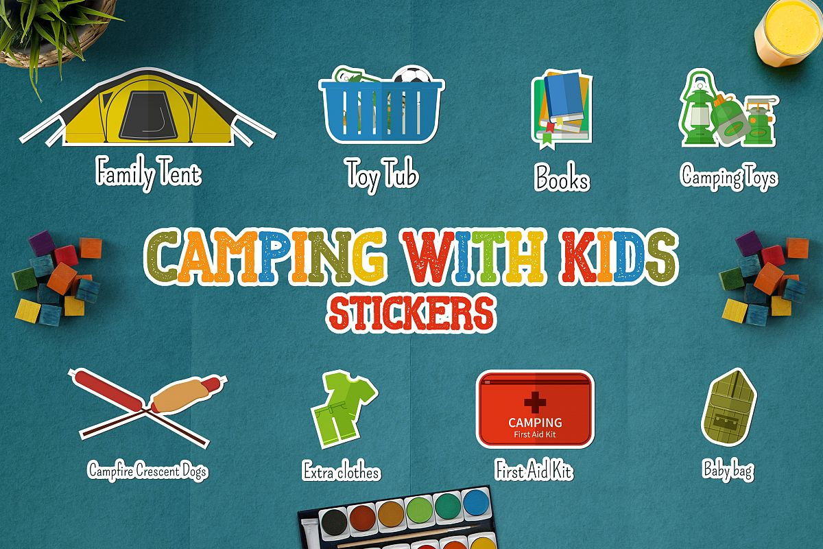 Camping With Kids Stickers example image 1