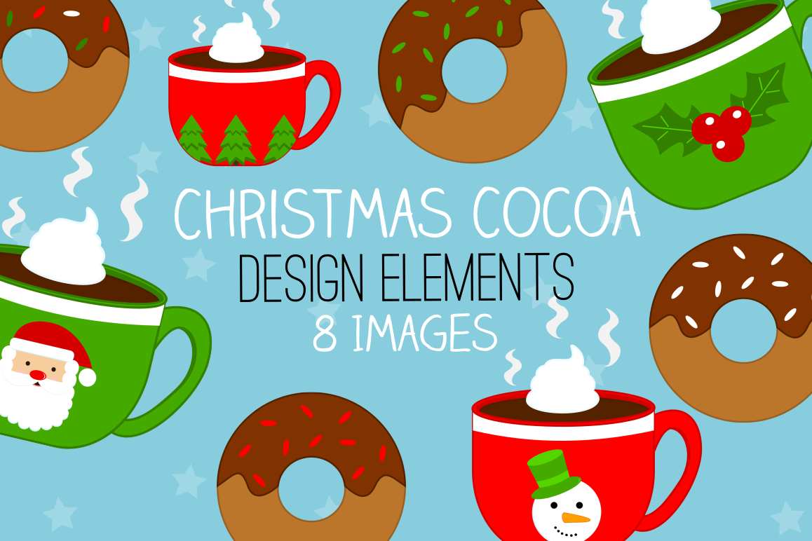 Christmas Illustrations Clip Art.Christmas Cocoa Donuts Graphics Illustrations Clipart