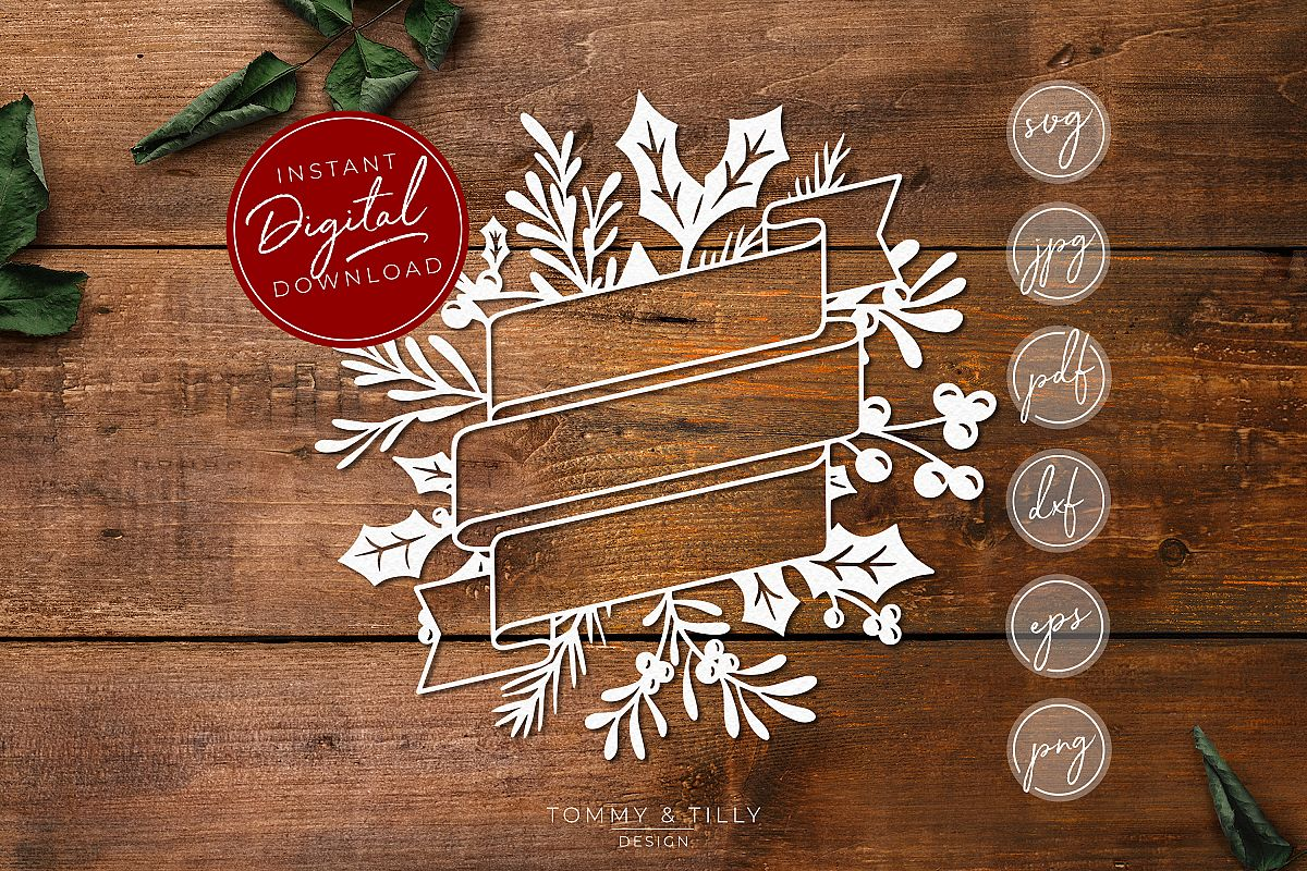 Christmas Wreath No.4 - SVG EPS DXF PNG PDF JPG Cut File example image 1