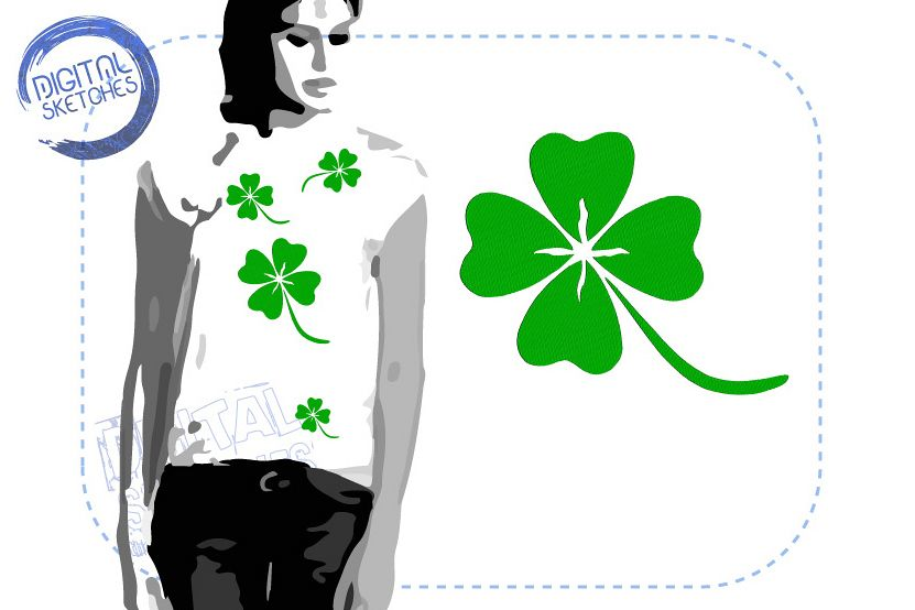 Cloverleaf Embroidery Design Good Luck INSTANT DOWNLOAD example image 1