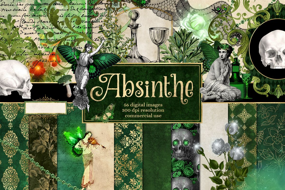 Absinthe Green Fairy Digital Scrapbook Kit example image 1