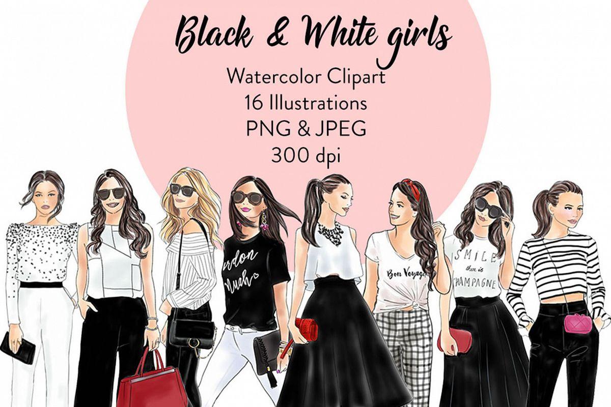 Black and white girls - Light Skin Clipart example image 1