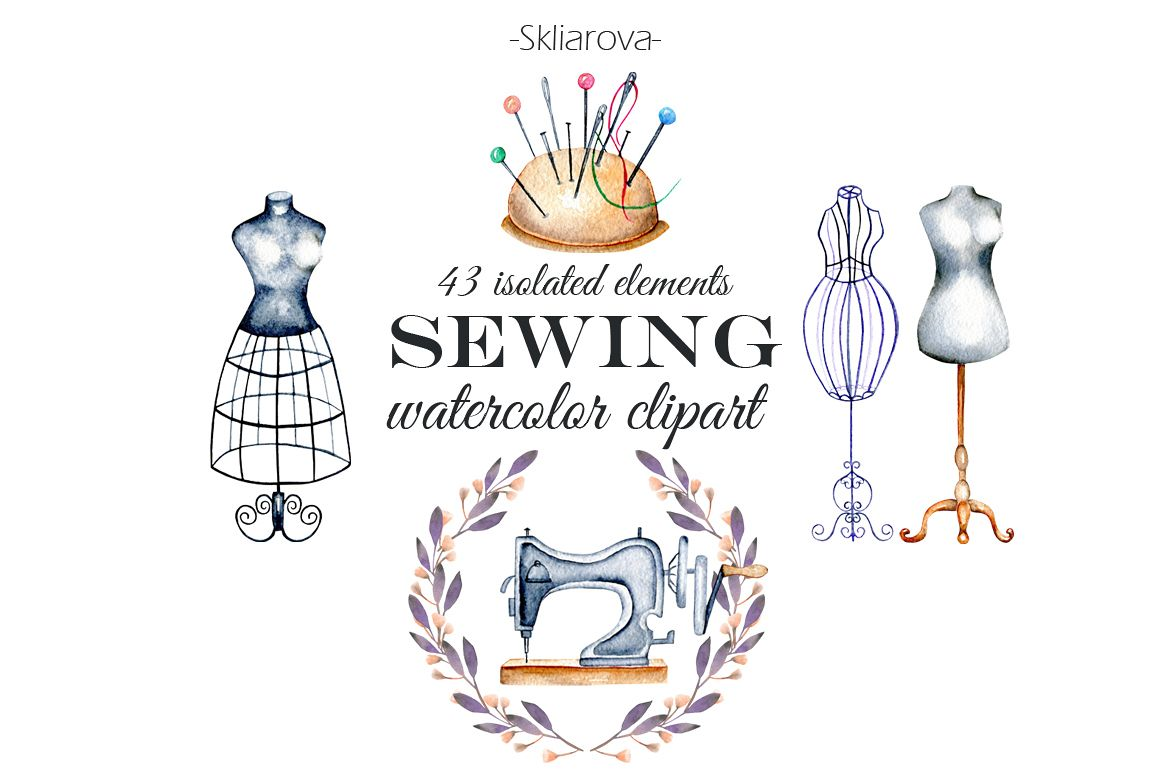 Sewing. Watercolor clipart example image 1