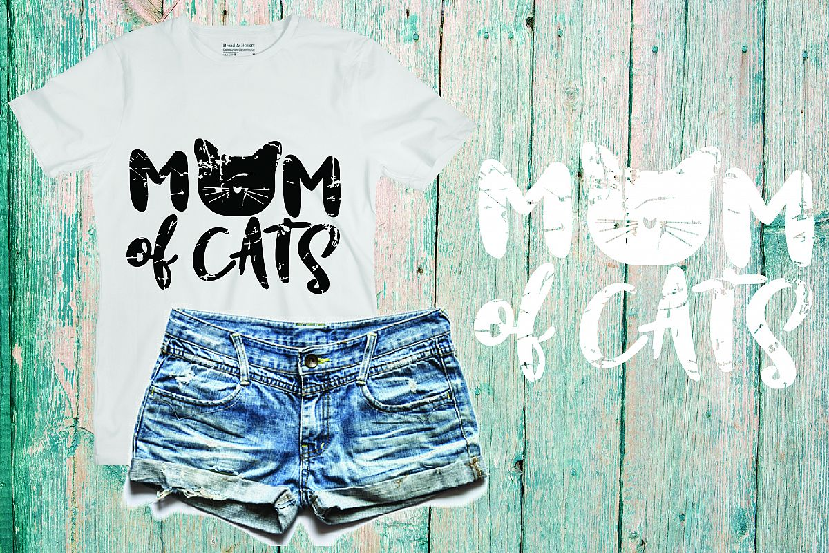 Mom of Cats Cat Lady SVG, cat mom, distressed, 215sv