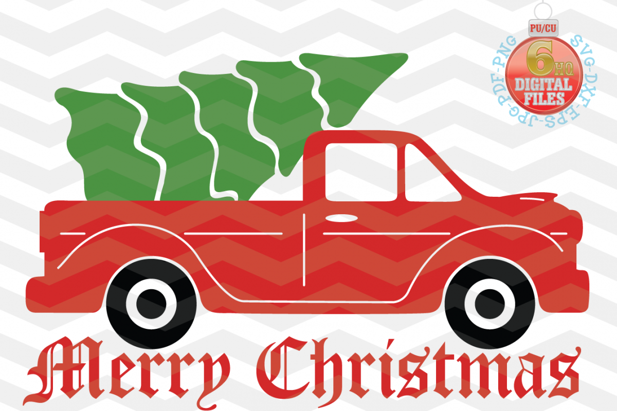 Christmas truck - Christmas truck with tree svg - Christmas example image 1