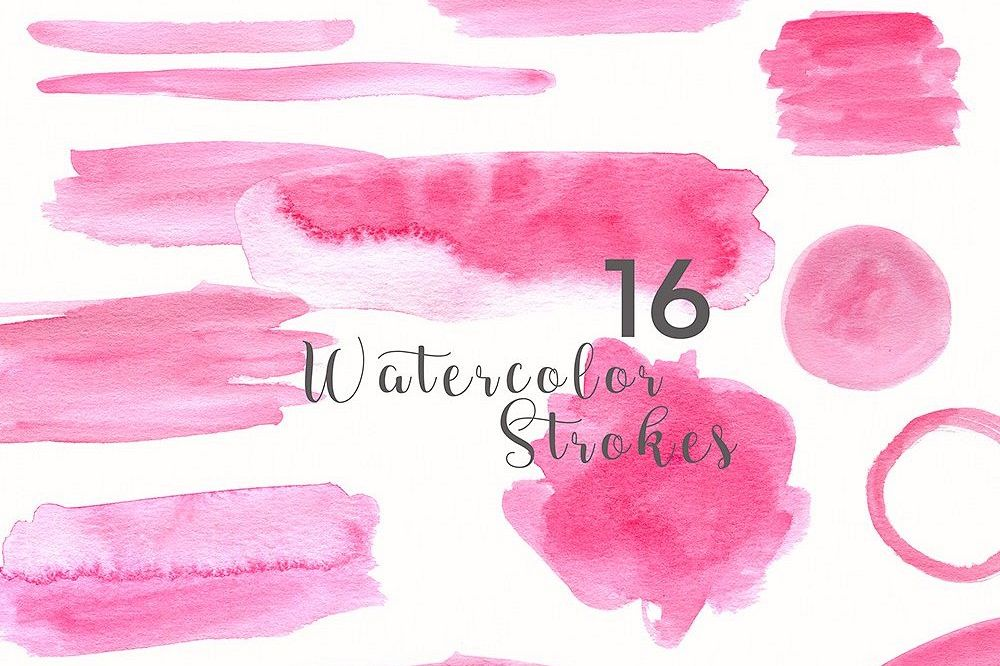 48 Pastel Watercolor Strokes example image 1