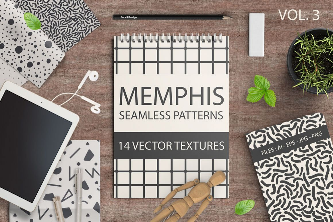 Set of memphis seamless patterns example image 1