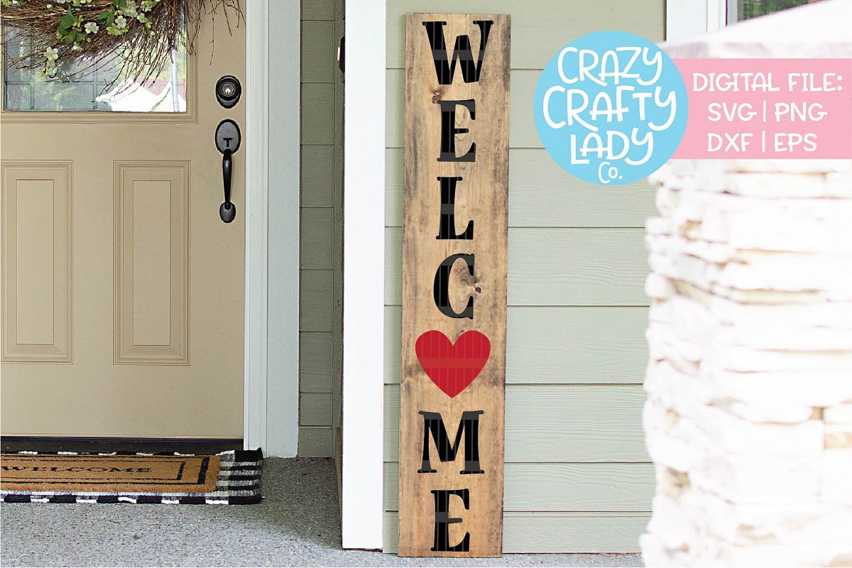 Welcome Valentine's Day Porch Sign SVG DXF EPS PNG Cut File example image 1