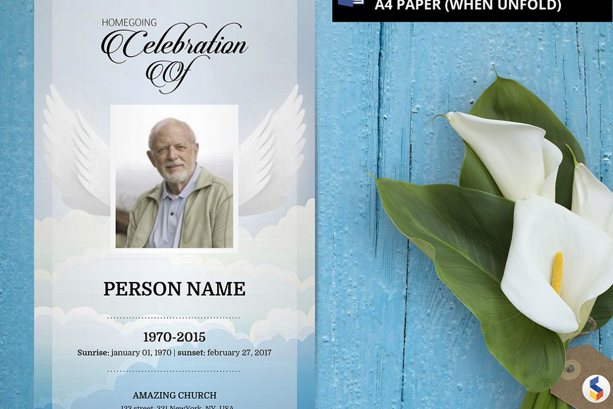 ANGEL WING | Funeral Program Template | MS Word Only example image 1