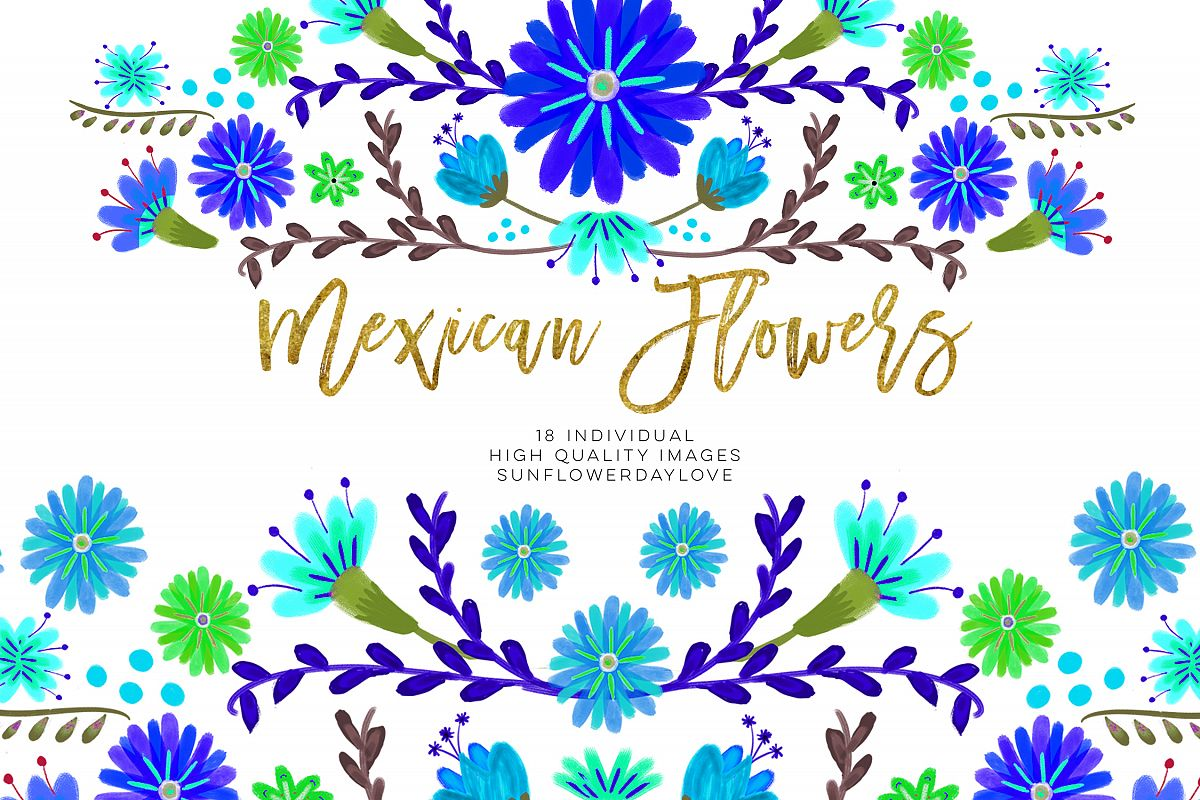 Blue Mexican Watercolor Floral clipart example image 1