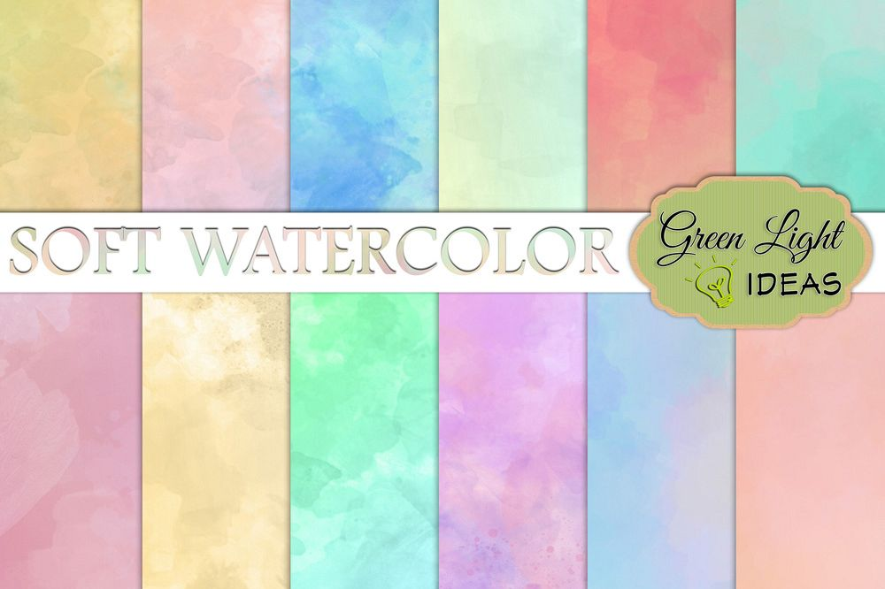 Soft Watercolor Digital Papers example image 1