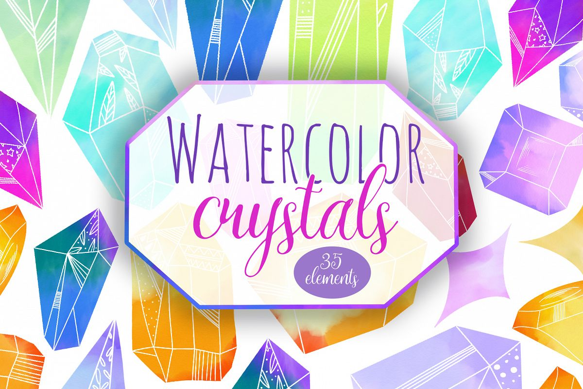 Watercolor Crystals example image 1