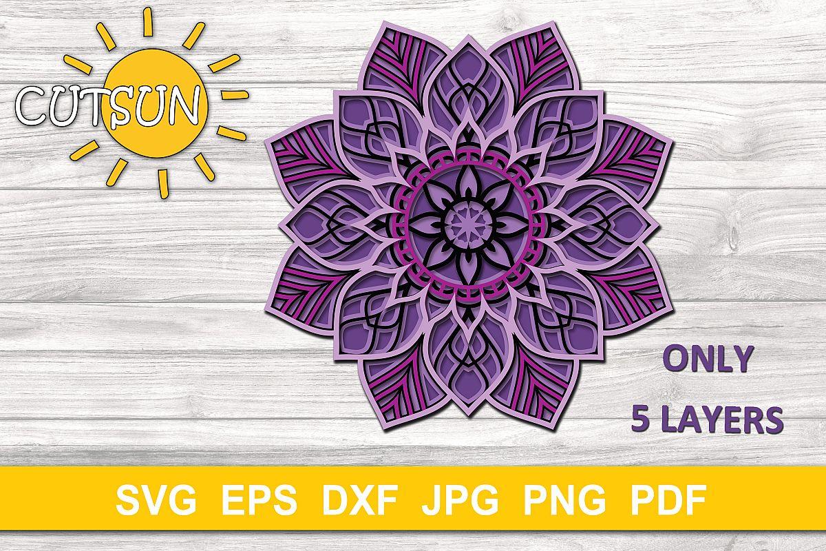 Download Mandala SVG | 3D Layered Mandala SVG cut file 5 layers ...