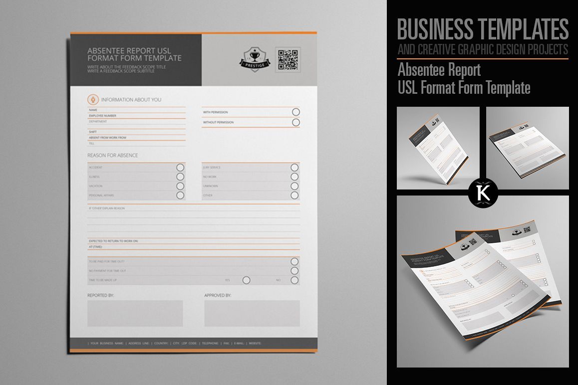 Absentee Report USL Format Form Template example image 1
