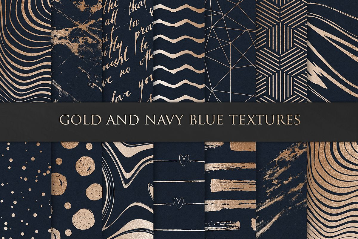 Navy Blue and Gold Digital Paper example image 1