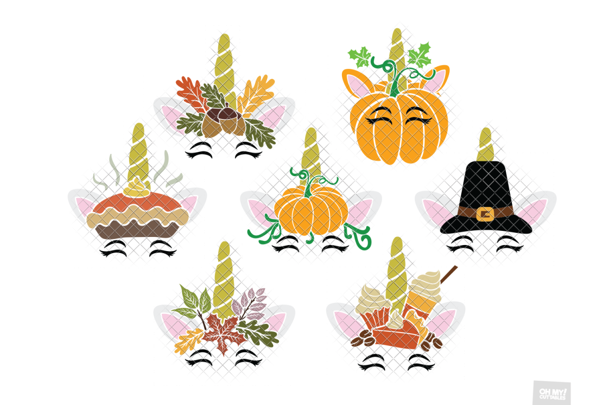 Thanksgiving Unicorn SVG Pumpkin in SVG, DXF, PNG, EPS, JPEG example image 1