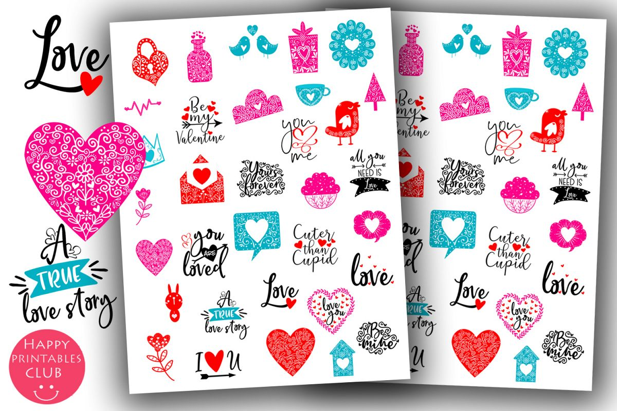Valentines Day Stickers Cute- Love Planner Stickers example image 1
