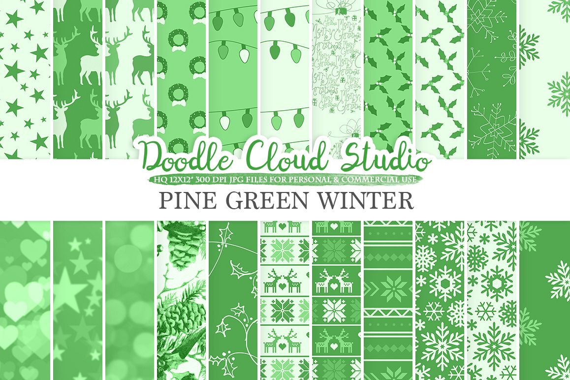 Pine Green Winter digital paper, Christmas Holiday patterns, Stars Snow deers X-mas backgrounds, Instant Download, Personal & Commercial Use example image 1