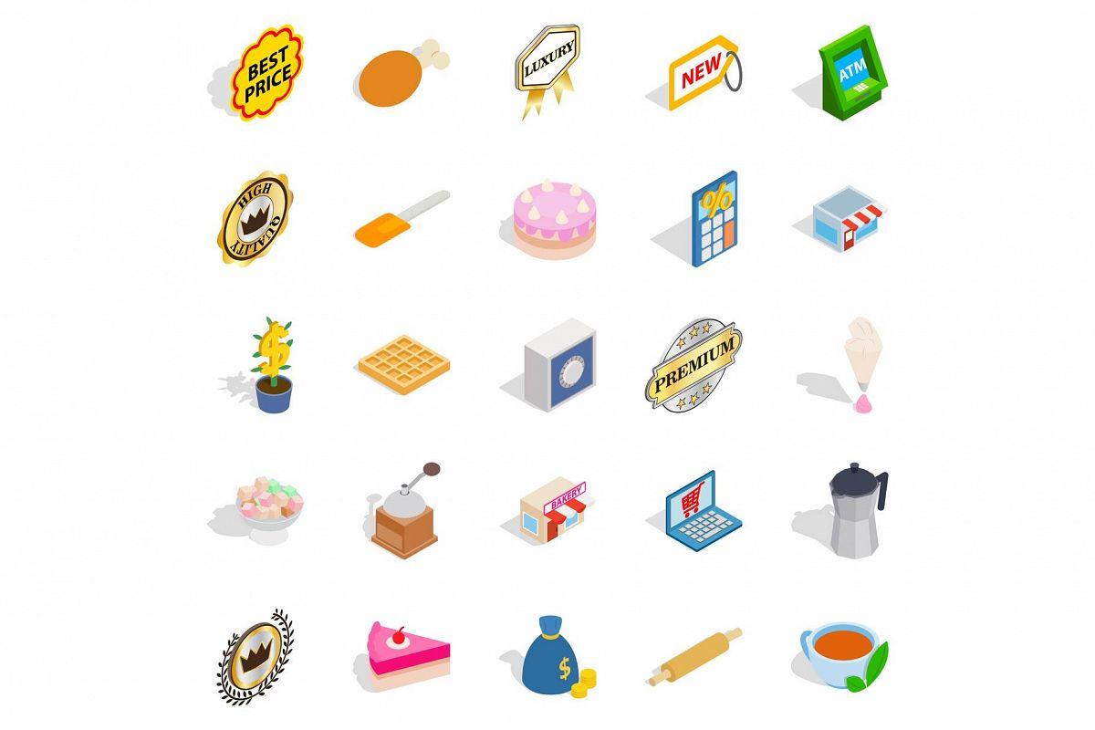 Caff icons set, isometric style example image 1