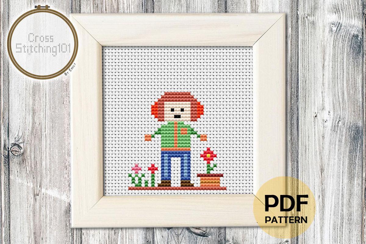 Boy with Headphone Cross Stitch Pattern PDF example image 1