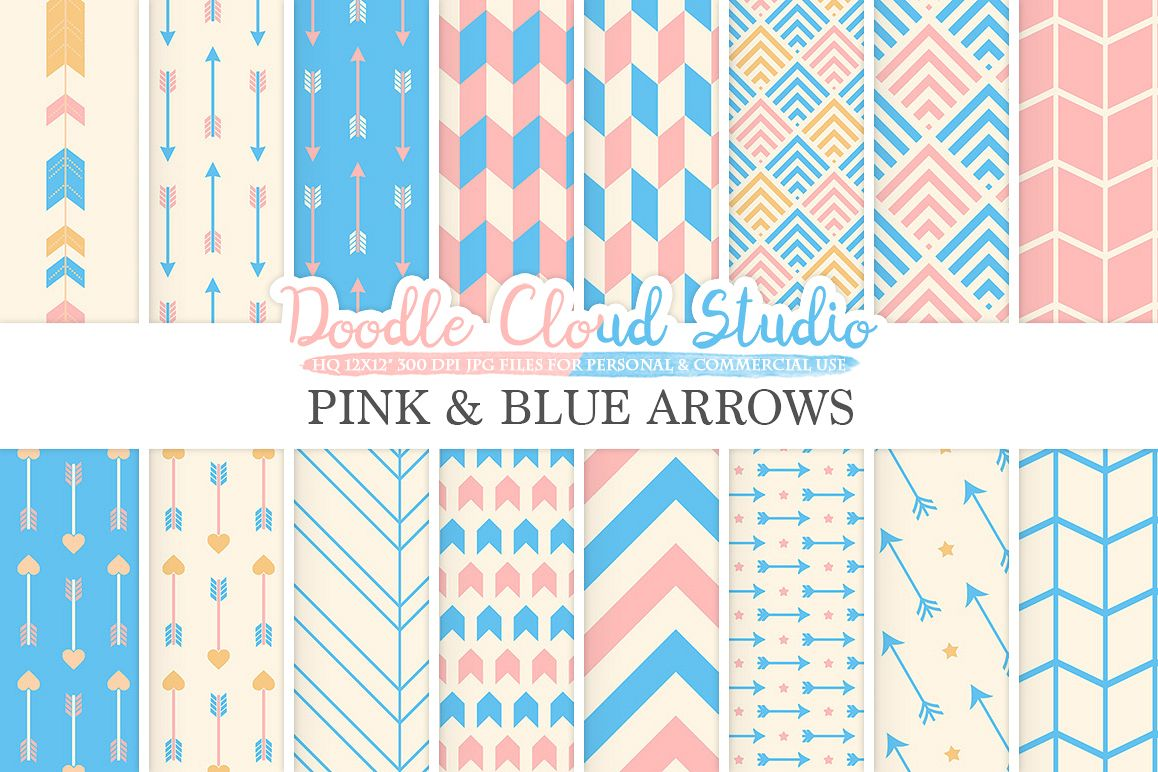 Pink and Blue Arrows digital paper, Arrow patterns, tribal, archery, chevron triangles Azure backgrounds for Personal & Commercial Use example image 1